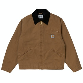 Carhartt Og Detroit Jacke - Hamilton Brown / Black Rinsed