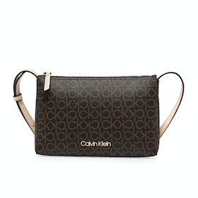 Calvin Klein Mono Ew Crossbody Messenger Bag - Brown Mono Mix