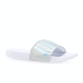 Superdry Classic Pool Womens Sliders - Silver Holographic