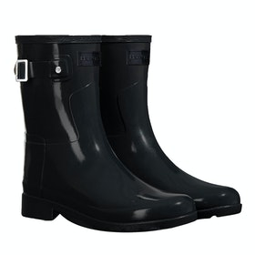 Hunter Original Short Refined Gloss Dame Wellies - Monotone Black