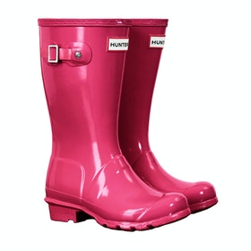 Hunter Original Gloss Childrens Wellington Boots - Bright Pink
