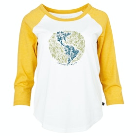 T-Shirt LS Femme United by Blue Rooted In Nature 3/4 Baseball - White