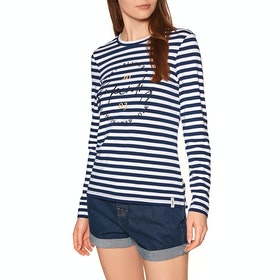 Superdry Summer Applique Top Womens Long Sleeve T-Shirt - Navy Stripe