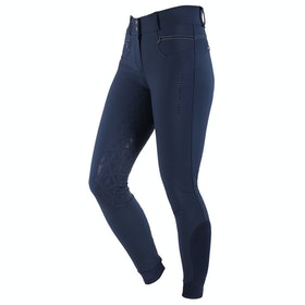QHP Aivee Full Grip High Waist Ladies Riding Breeches - Navy