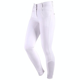 QHP Aivee Full Grip High Waist Ladies Riding Breeches - White