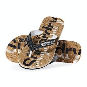Superdry Cork Flip Flop Sandals - Black