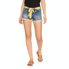 Superdry Lace Hot Short Womens Shorts - Summer House Blue