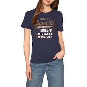 Superdry Premium Goods Metallic Entry Short Sleeve T-Shirt - Atlantic Navy