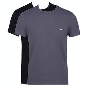 Emporio Armani 2pack Cotton Crew Neck Short Sleeve T-Shirt - Nero Antracite