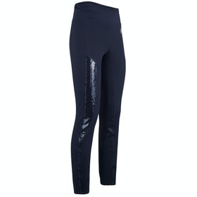 Imperial Riding Hi Glam Silicone Full Seat Childrens Riding Tights - Navy