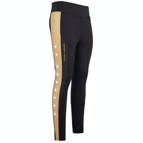 Imperial Riding Hi Star Silicone Full Seat Childrens Riding Tights - Black Gold