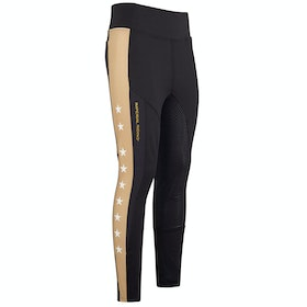 Imperial Riding Hi Star Silicone Full Seat Ladies Riding Tights - Black Gold