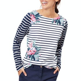 Joules Harbour Print Womens Long Sleeve T-Shirt - Floral Cream Stripe