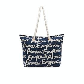 Emporio Armani Drawstring Strandtaske - All over Blu White