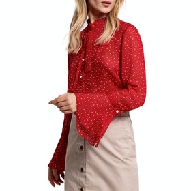 Gant D1. French Dot Chiffon Bow Blouse Women's Shirt - Bright Red