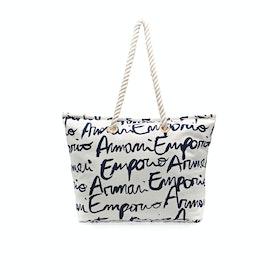 Emporio Armani Classic Beach Dame Strandtaske - Bianco Stampa Logo
