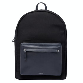 Sandqvist Ingvar Backpack - Black Twill With Navy Leather