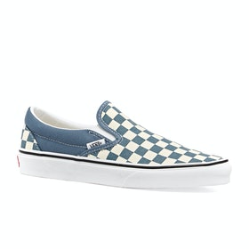 Vans Classic Checkerboard Womens Slip On Shoes - Blue Mirage True White