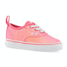 Vans Authentic Elastic Lace Kids Toddler Shoes - Neon Glitter Pink True White