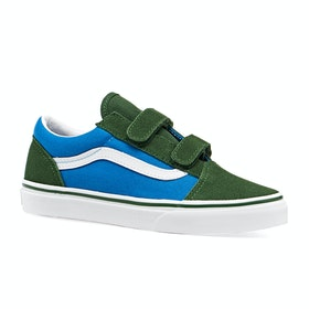 Chaussures Enfant Vans Youth Old Skool V Deux Tons - Mediterranian Blue Greener Pastures