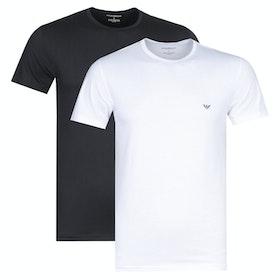 Emporio Armani 2pack Cotton Crew Neck Short Sleeve T-Shirt - Bianco Nero