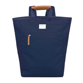 Sandqvist Tony Tote Rucksack - Blue With Cognac Brown Leather