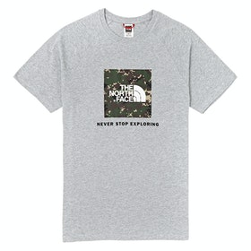 North Face Capsule Rag Red Box T Shirt - TNF Grey Heather English Green UX Digi Camo Print