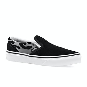 Vans Classic Slip On Youth Kids Trainers - Suede Flame Black True White