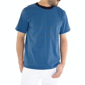 Armor Lux Fine Stripe Short Sleeve T-Shirt - Navire Lapis