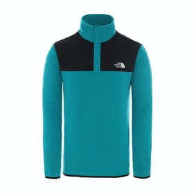 North Face Tka Glacier Snap Neck Pullover , Fleece - Fanfare Green TNF Black