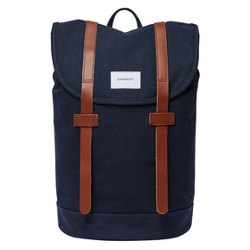Sandqvist Stig Backpack - Navy With Cognac Brown Leather