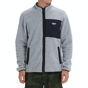 Burton Hearth Full Zip Fleece - Gray Heather Black