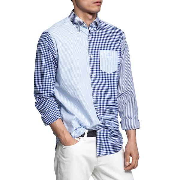 Gant Regular Fit Mixed Panels Broadcloth Shirt
