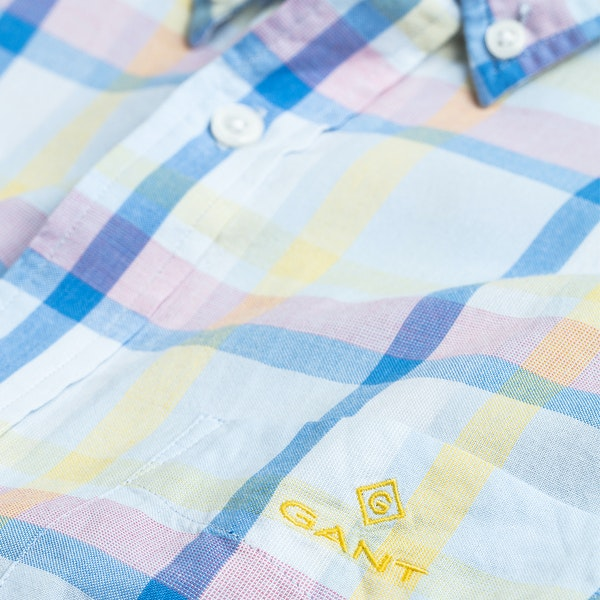 Gant Plaid Windblown Oxford Short Sleeve Shirt