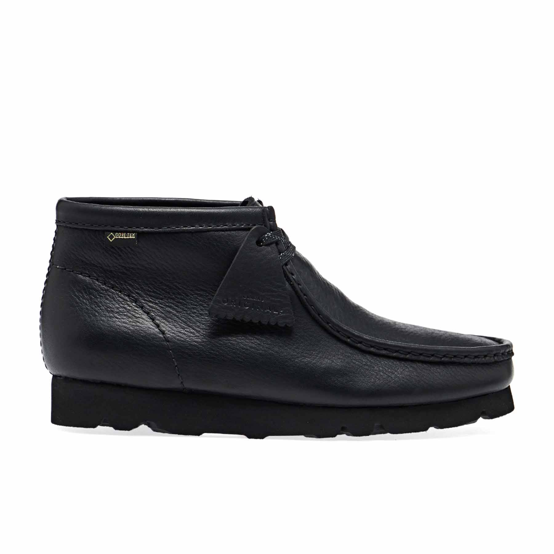 wallabee clarks black leather
