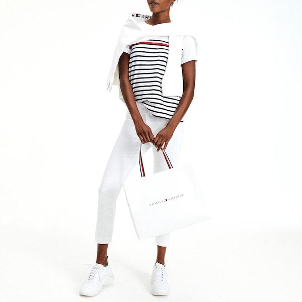 T-Shirt a Manica Corta Donna Tommy Hilfiger Stripe Round Neck