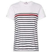 Tommy Hilfiger Stripe Round Neck Damen Kurzarm-T-Shirt