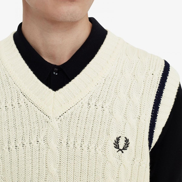 Fred Perry Re Issues Textured Cable Knit Tank セーター