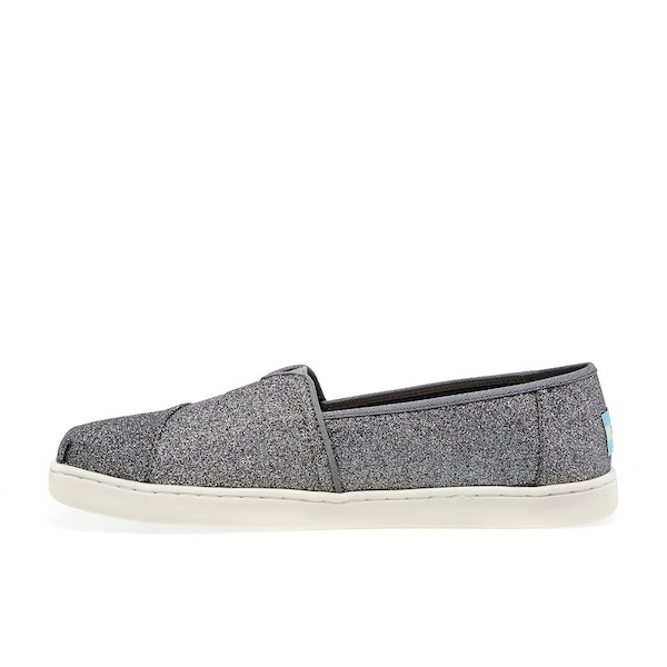 Toms Pewter Sparkle Glitter Youth Classics Kid's Slip On Trainers