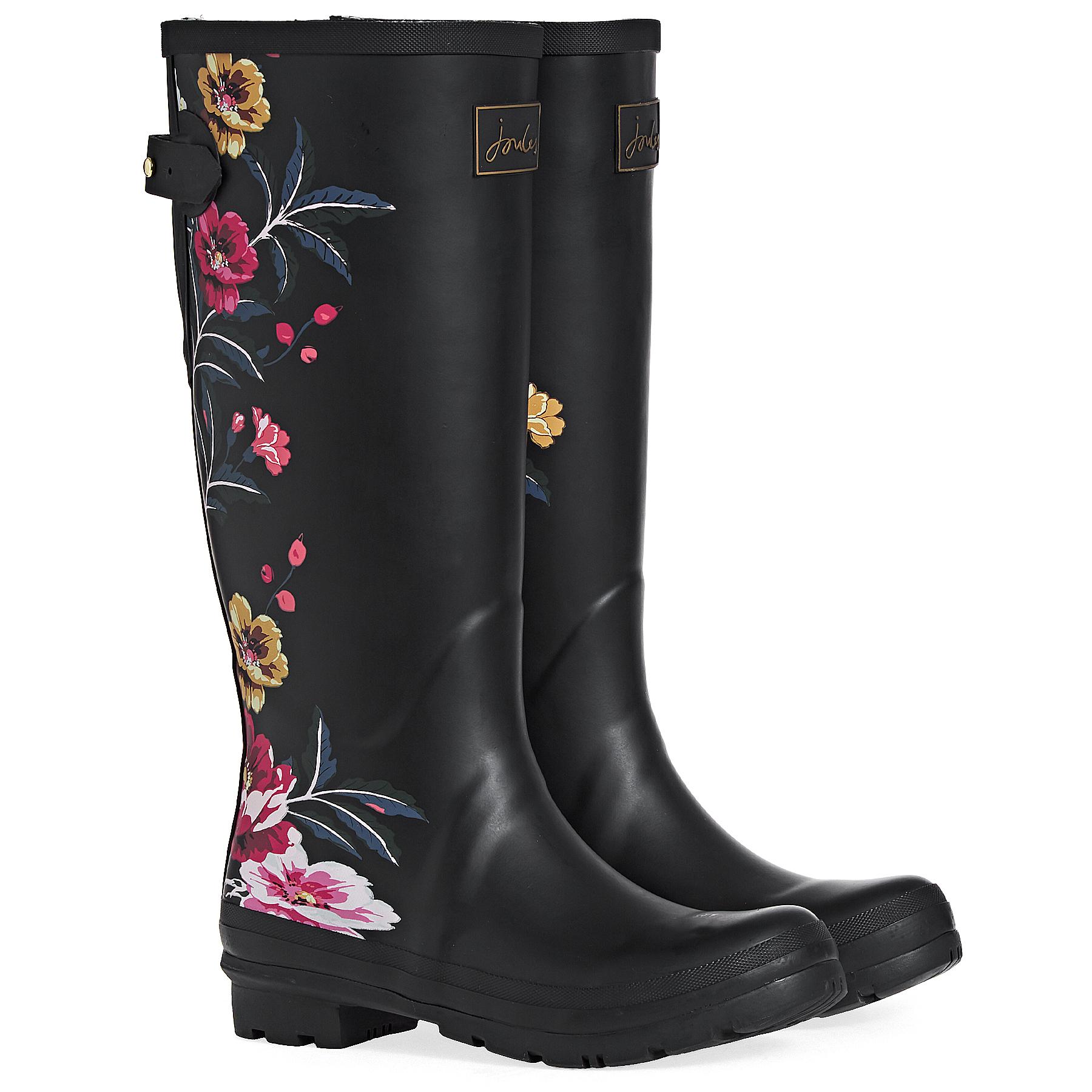 Wellington Boots - Black Border Floral