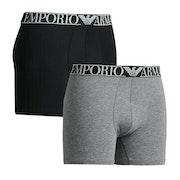 Emporio Armani Mid Waist 2-pack Heren Boxershorts