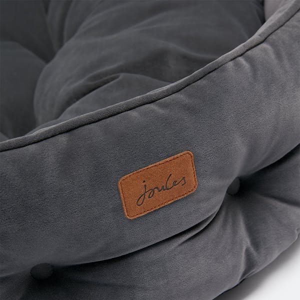 Joules Large Velvet Pet Bed Grey Country Attire Us