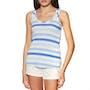Cream Blue Stripe
