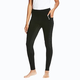 Riding Tights Femme Ariat Prevail Insulated Pull On Full Seat - Black Reflective