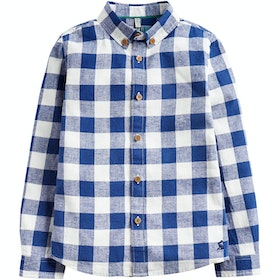 Joules Sark Linen Checked Boys Shirt - Dark BlueGingham