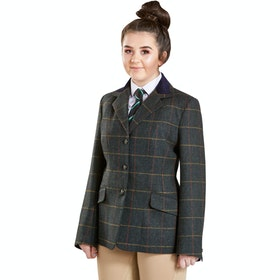 Firefoot Fewston Standard Collar Girls Jacket - Green Check