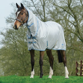 Saxon Mesh Combo Fly Rug - White Blue Gold