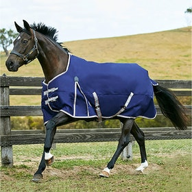 Weatherbeeta ComFiTec Essential 50g Standard Neck Lite Plus Turnout Rug - Navy Silver Red