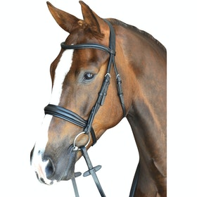 Collegiate Mono Crown Padded Raised Cavesson Snaffle Bridle - Black