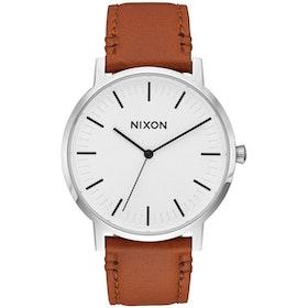 Nixon Porter Leather Watch - White Sunray Saddle